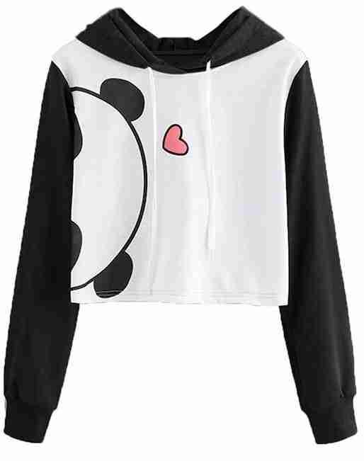 Panda hoodie sweatshirt black and white