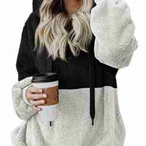 Sherpa Black and White Pullover for Women