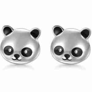 Silver Panda Bear Ear Rings