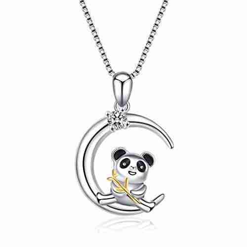 Cute silver panda necklace