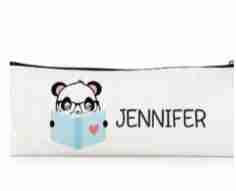 Personalized Print Name Panda Reading Zippered Pencil Bag
