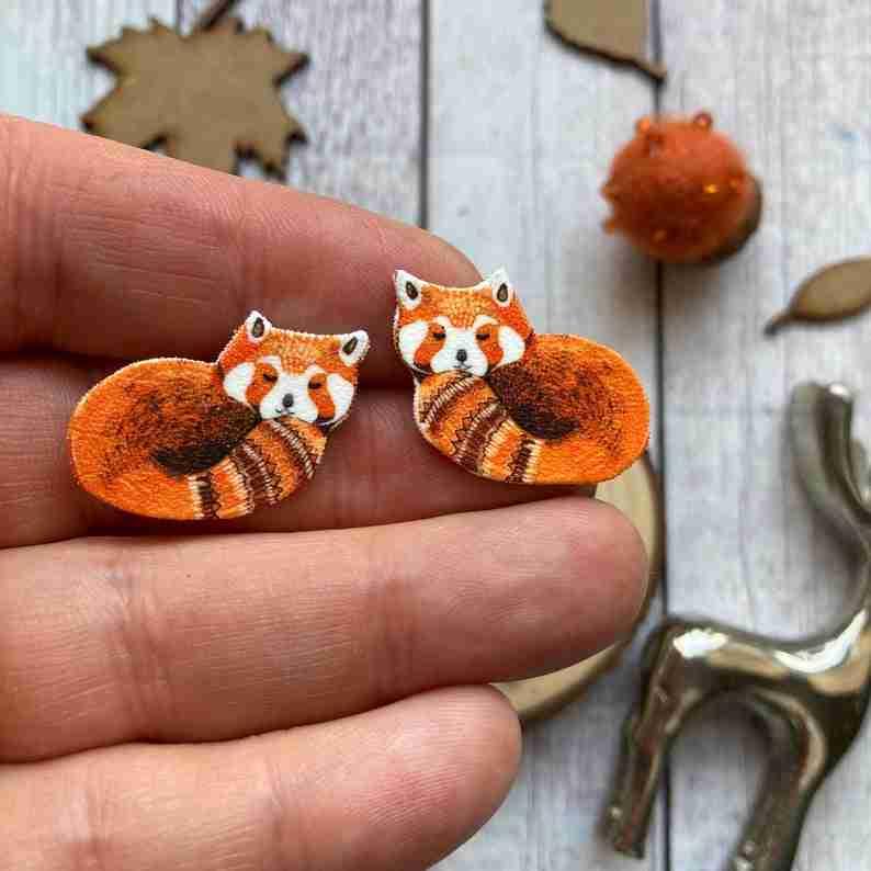 Red Panda Stud Earrings