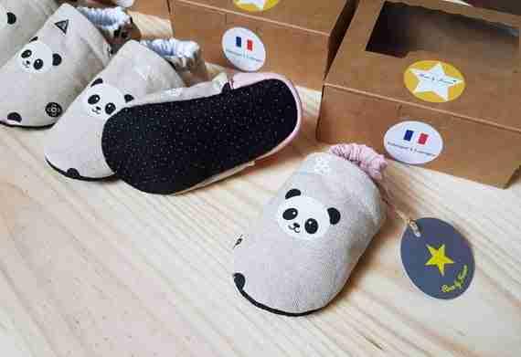 Pink panda baby slippers